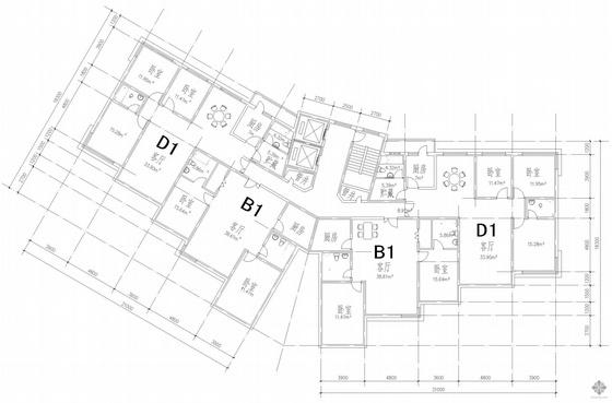 塔式高层一梯四户公寓建筑户型图(139/139/160/160)