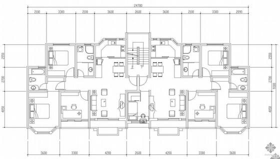 板式多层一梯两户户型图(111/120)