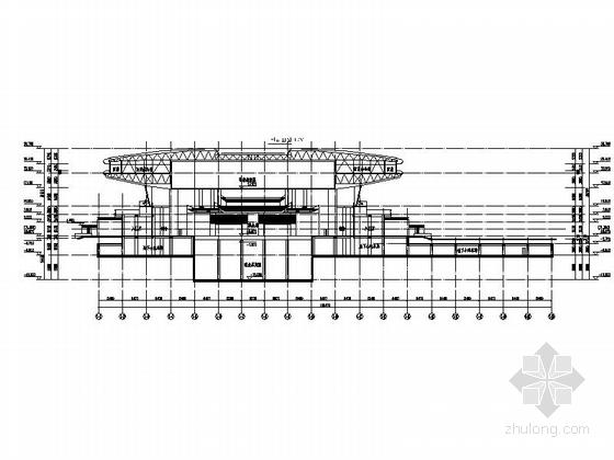 圆形高层文化演艺中心建筑设计剖面图