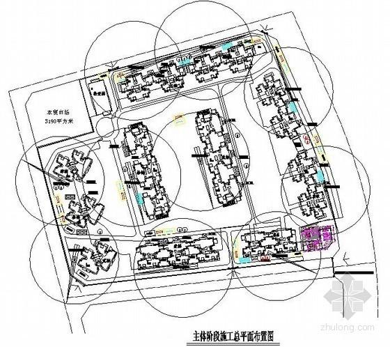 [四川]住宅小区施工现场平面布置图(基础、主体、装饰)