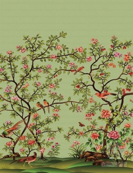中式植物花鸟壁纸3d贴图下载