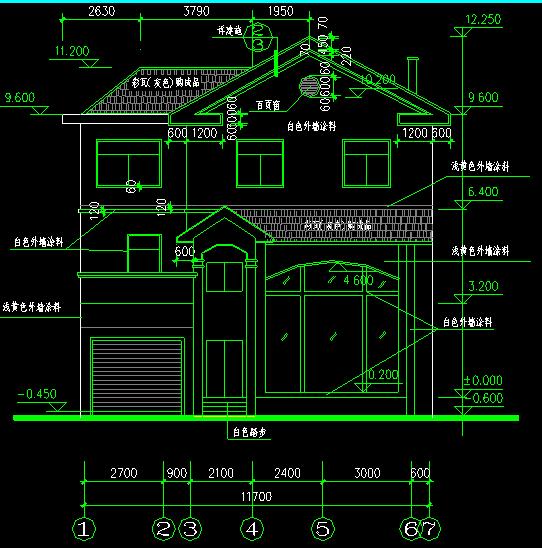 翡翠山庄别墅建筑施工图图纸