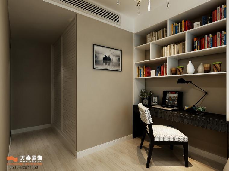 领秀公馆120平三室两厅装修,新中式风格真的很漂亮-书房.jpg