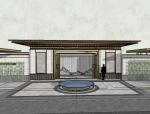 新中式风格大门围墙模型设计