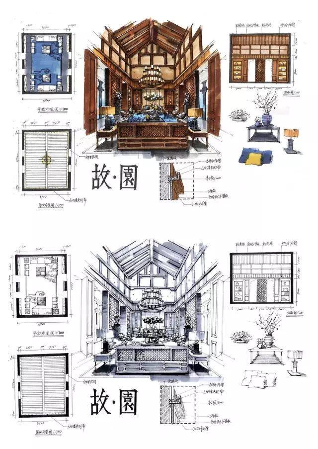 室内手绘 室内设计手绘马克笔上色快题分析图解_36