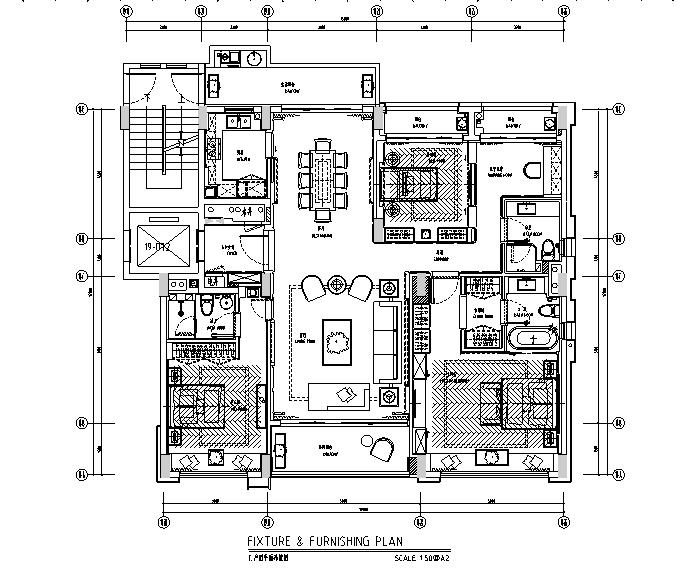 深圳前海时代C户型样板房设计施工图(附效果图)