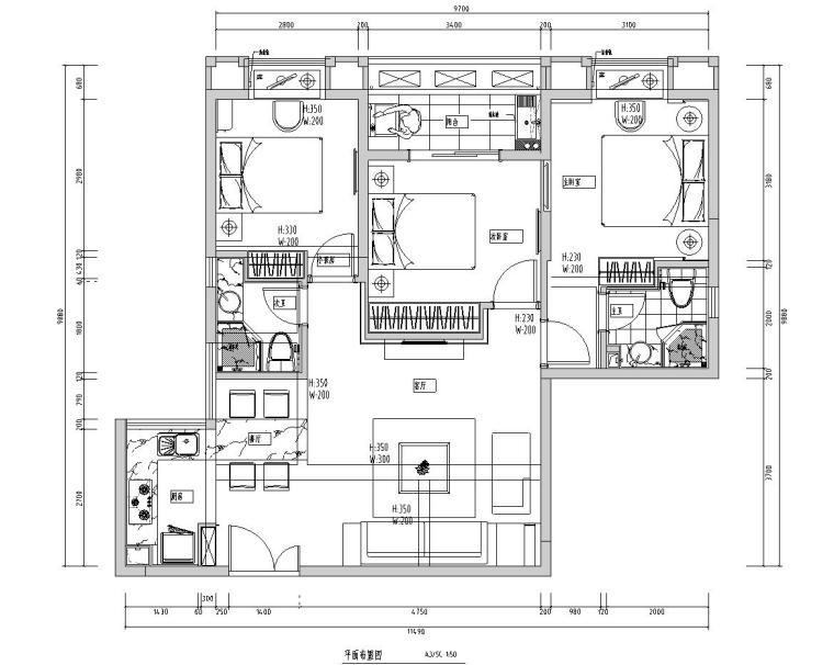 特色样板房施工图设计(现代风格)
