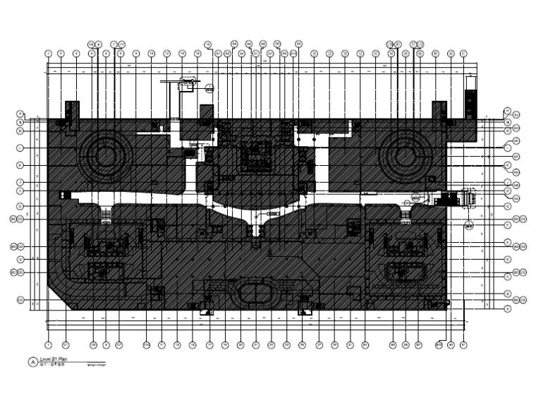 [北京]银泰中心商业公共区域设计施工图(附效果图+物料表+结构图纸+消防图纸)-地下一层平面图