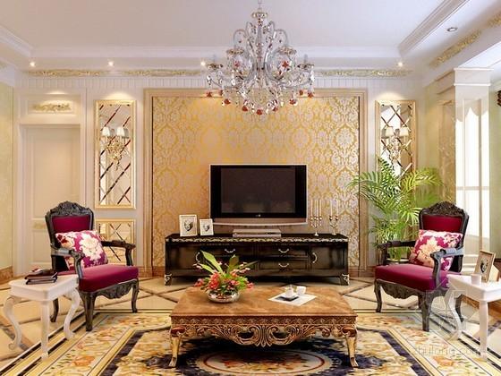 豪华欧式风格客厅3d模型效果图