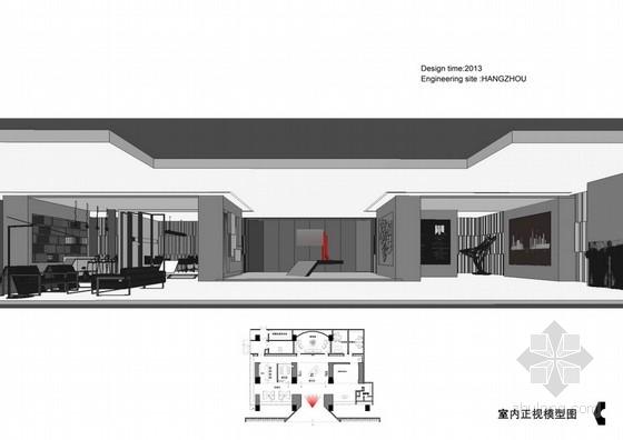 [杭州]CBD核心区绿色生态时尚现代售楼部设计方案室内模型正视图