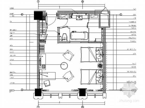 [辽宁]国企办公楼标准双人房装修施工图