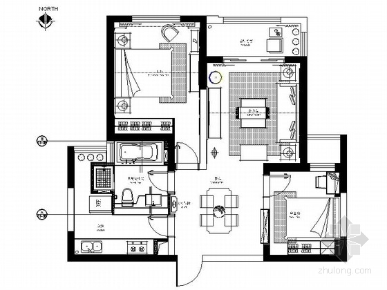 [芜湖]精致生活时尚简约两居室样板间CAD装修施工图(含效果)