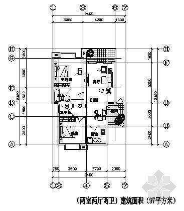 两室两厅一厨两卫97平方米