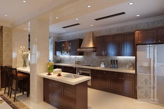 u型厨房橱柜效果图资料下载-开放式整体厨房效果图3DMAX模型