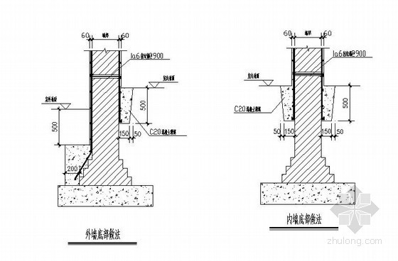 砖混结构抗震加固内外墙底部做法节点详图