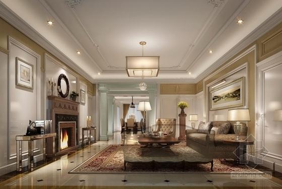 美式风格三居室设计装修图(含效果)客厅效果图