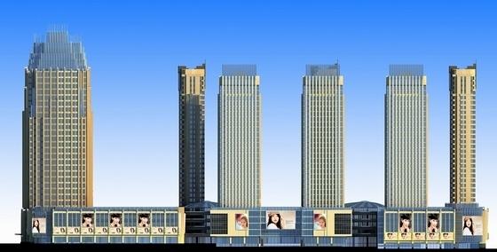 [内蒙古]artdeco风格高层城市综合体建筑设计方案文本-artdeco风格高层城市综合体立面图