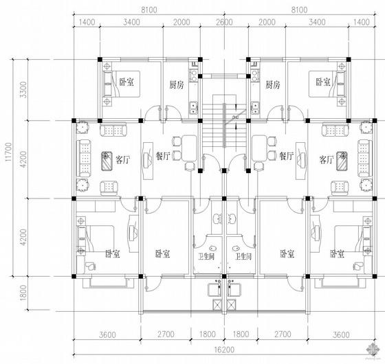 板式多层一梯二户户型图(96/96)