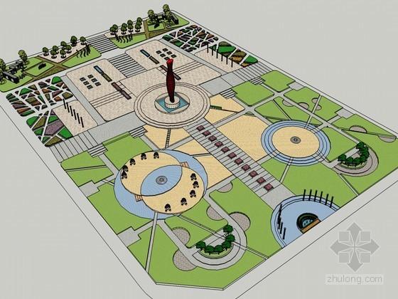 城市广场SketchUp模型下载