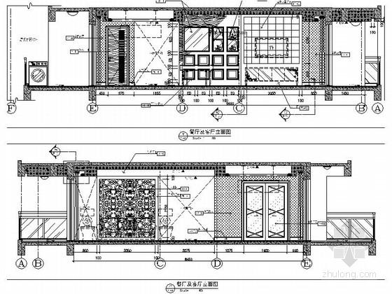 [武汉]主题公园生态区时尚现代三居室装修施工图(含效果实景图及手绘图)客厅餐厅立