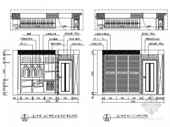 [江苏]河畔花园简欧两居室样板间装修施工图主卧立面图