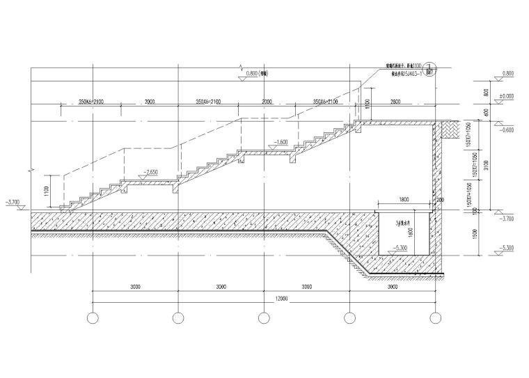 庭院内楼梯1-1剖面图