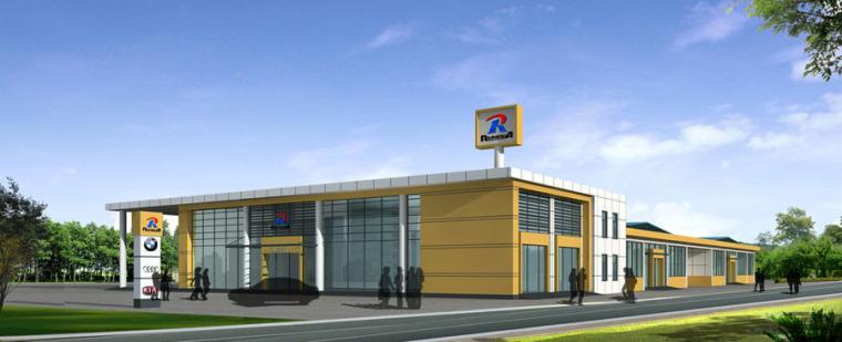 (原创)汽车4S店建筑外观设计案例效果图-4s店9