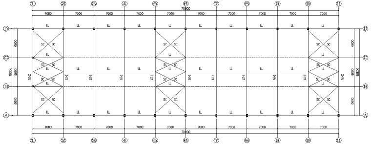 农贸市场70x19.8单跨门式刚架钢结构厂房(CAD,5张)