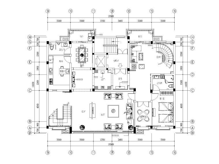 [苏州]朱公馆新中式别墅样板房装修施工图(附效果图+实景图)