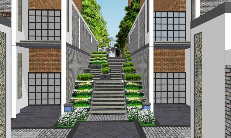 中式巷子景观SU模型——台阶