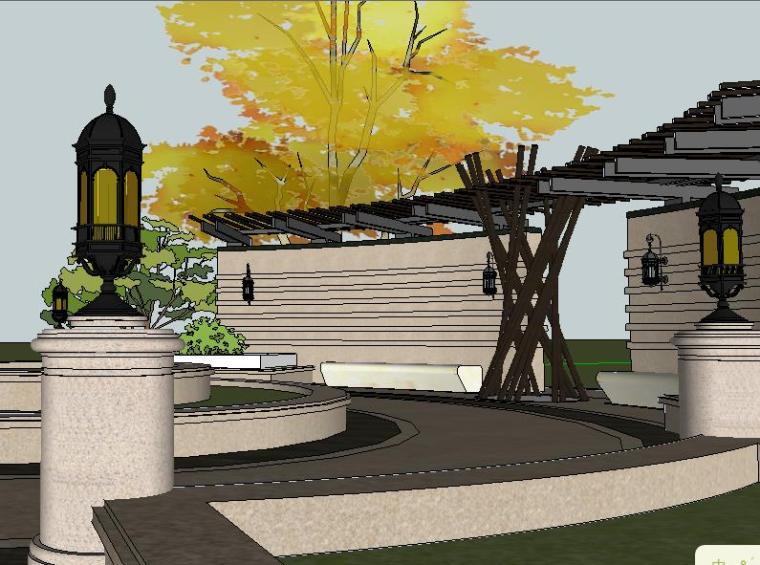 [景观构筑物]现代弧形廊架广场景观小品su模型