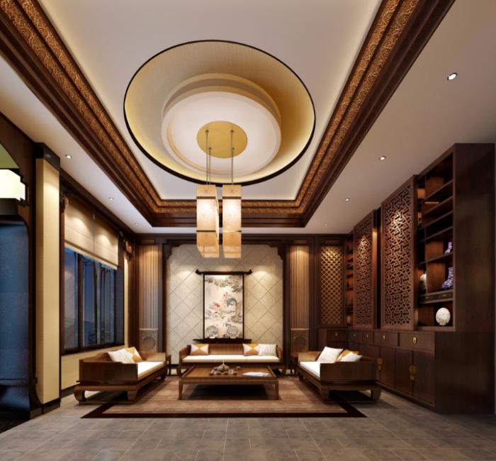 某三层别墅住宅室内设计施工图(含效果图).-客厅效果图