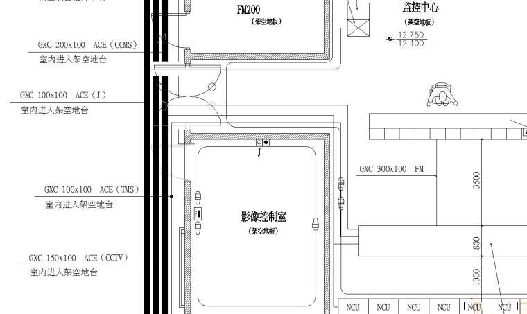 某弱电房间大样图-监控中心(FMO)
