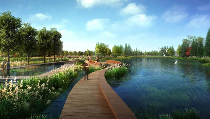 [山西]滨河崖壁生态立体化湿地公园景观设计方案-滨水湿地景观效果图