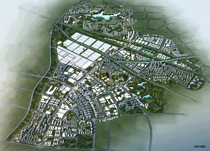 [湖南]生态海绵城市雨水环保科技工业产业园区景观设计方案(2016最新)-景观鸟瞰效果图