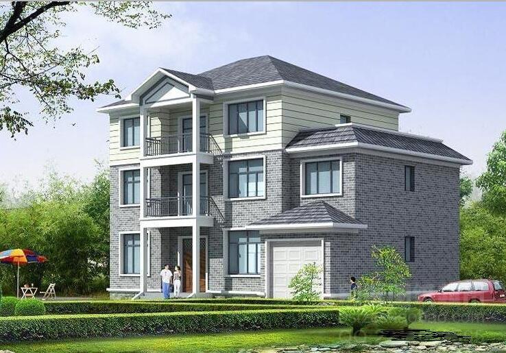 三层砖混结构新农村独栋别墅建筑设计(包含效果图+施工图+CAD)
