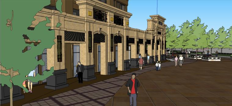 底层商铺建筑规划设计(su模型)