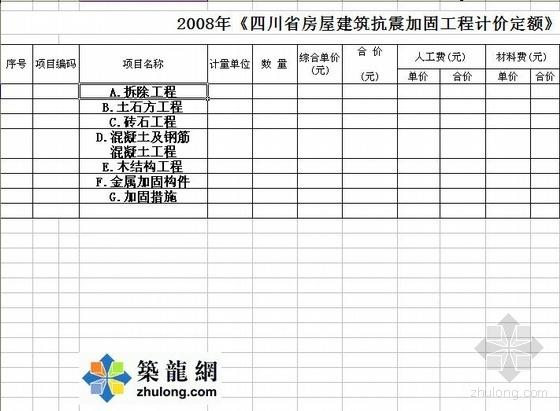2008年四川省房屋建筑抗震加固工程计价定额(excel版)