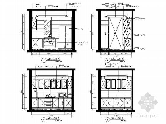 [山东]三层现代风格别墅室内装修施工图(含实景效果图)-[山东]三层现代风格别墅室内装修施工图(韩实景效果图)厨房立面图