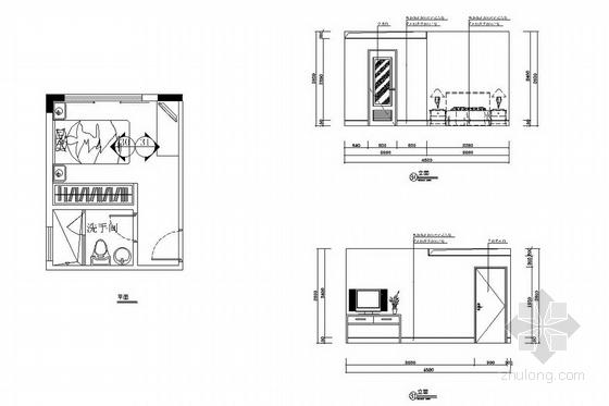 [广州]山水之间新中式风格三层别墅装修图(含效果图)客房立面图