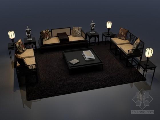 新中式沙發3D模型下載