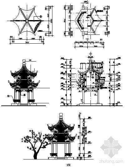 六角重檐古建亭详图-4