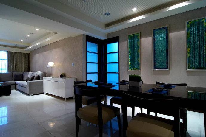 130平米二居室现代简约客厅背景墙设计效果图_3