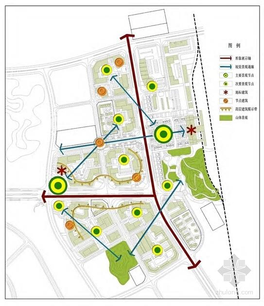 现代风格火车站片区城市设计方案分析图