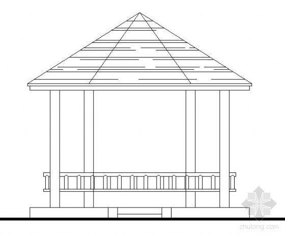 某公园六角休闲木亭施工图