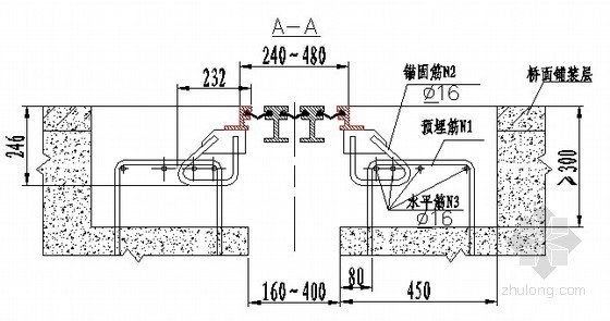 GQF-MZL240型桥梁伸缩装置安装示意图