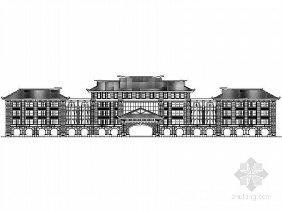 [厦门]某知名高校中式风格五层教学楼建筑方案图
