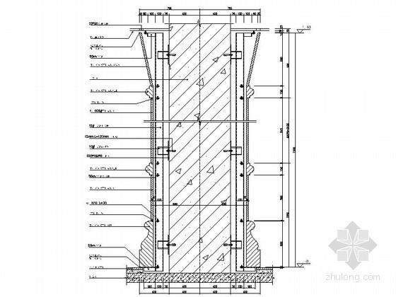 [欧式柱]干挂石材方柱变圆柱节点详图