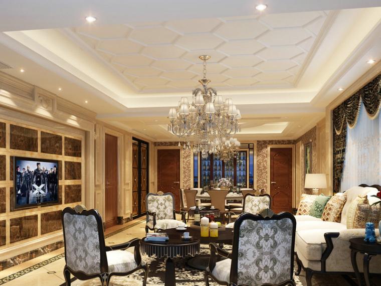 欧式华丽客餐厅3D模型下载
