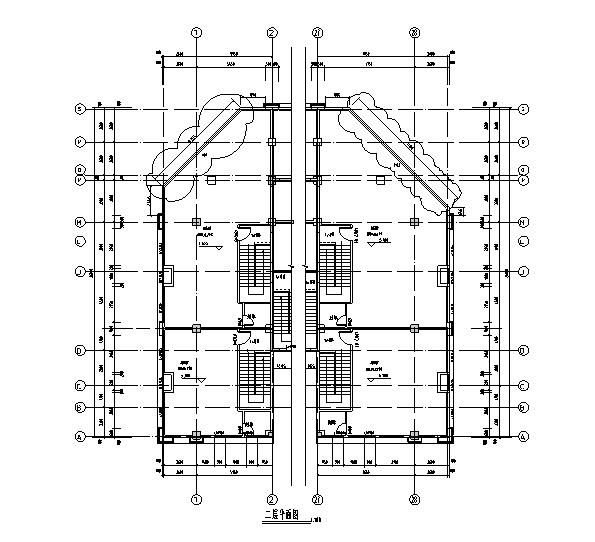 [安徽]玻璃幕墙深化设计施工图(2017)-二层平面图